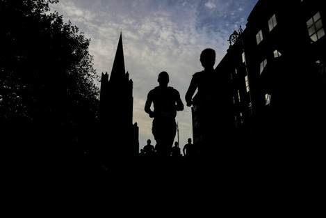 A view of runners as they go past St Patricks Cathedral
