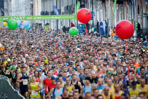 A view of the Dublin Marathon as runners make there way down Fitzwilliam Street Upper