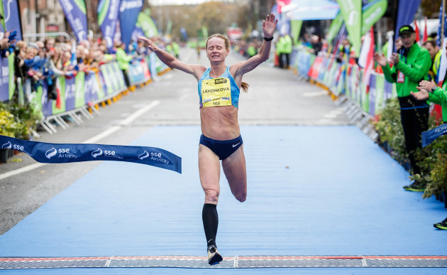 Nataliya Lehonkova crosses the line to win the women's category during the SSE Airtricity Dublin Marathon
