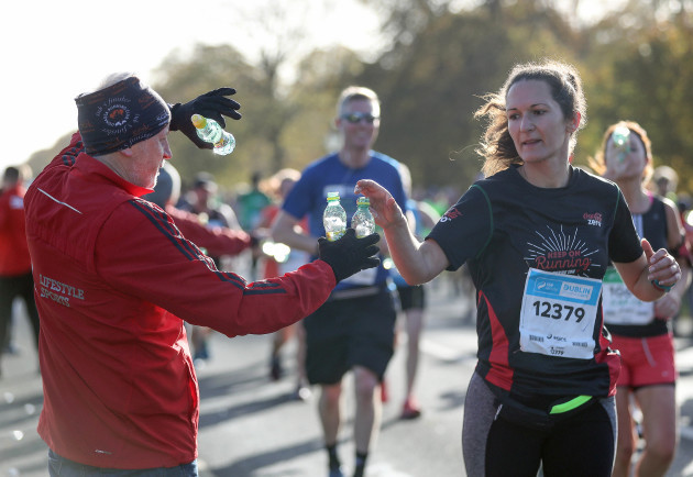 A steward passes out water in The Phoenix Park