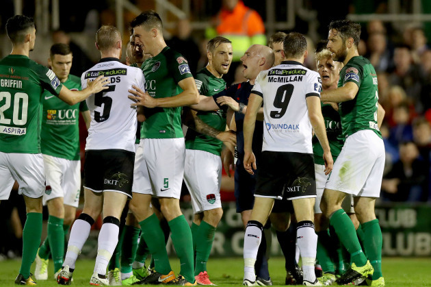 Cork City and Dundalk players scuffle