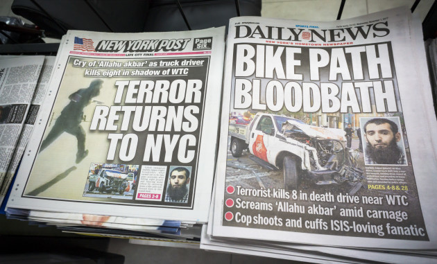 NY: New York newspapers report on terrorist attack in Tribeca in New York