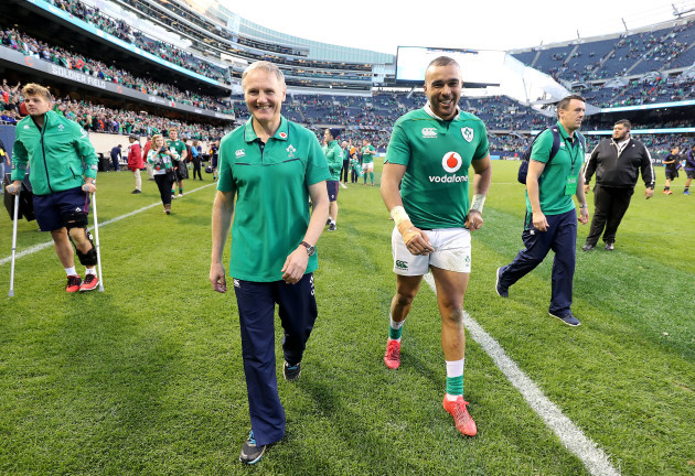 Joe Schmidt and Simon Zebo celebrate winning