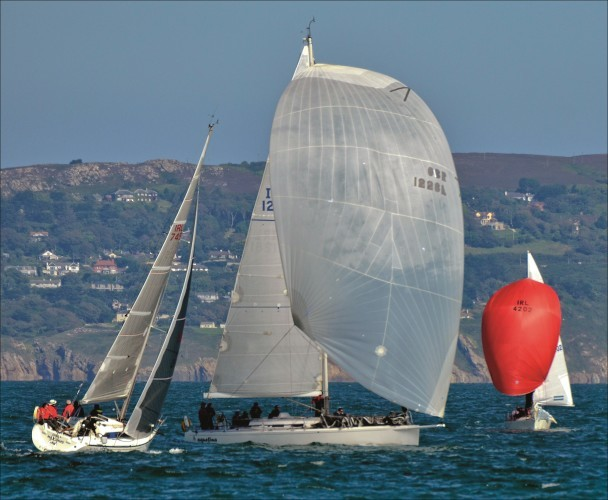 Yachts off Dun Laoghaire, spinnakers flying