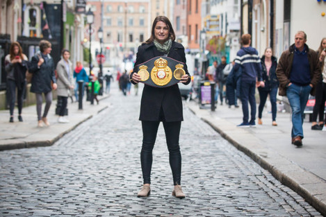 Katie Taylor pictured with her WBA Lightweight Belt