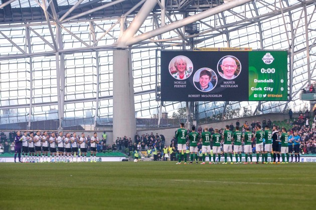 A minutes silence is held for Noelle Feeney, Robert McLoughlin and Manus McColgan
