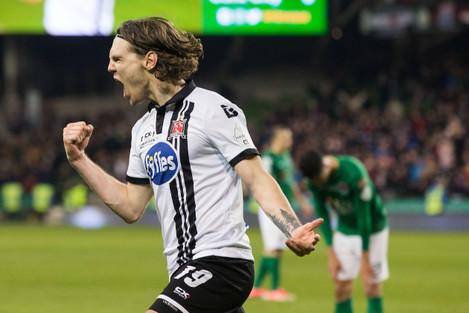 Niclas Vemmelund celebrates his goal