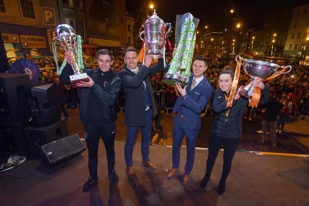 Cork City captains Mitch Byrne U17, Alan Bennett, John Dunleavy and Ciara McNamara