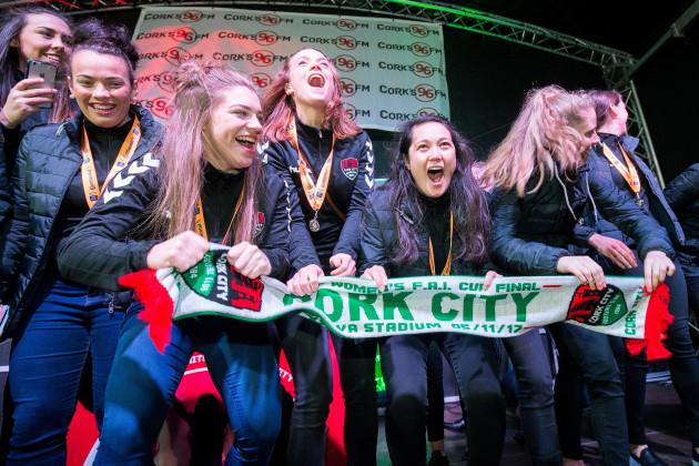 The Cork City FC WFC celebrate on stage