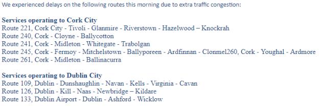 bus eireann delays
