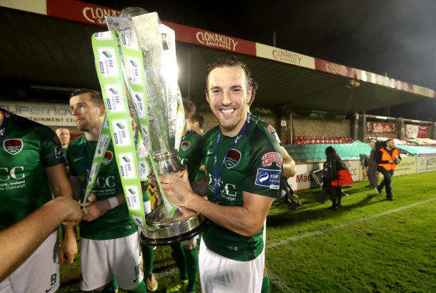 Karl Sheppard celebrates winning The SSE Airtricity League