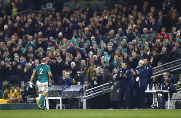 Rory Best leaves the pitch on his 100th appearance for Ireland