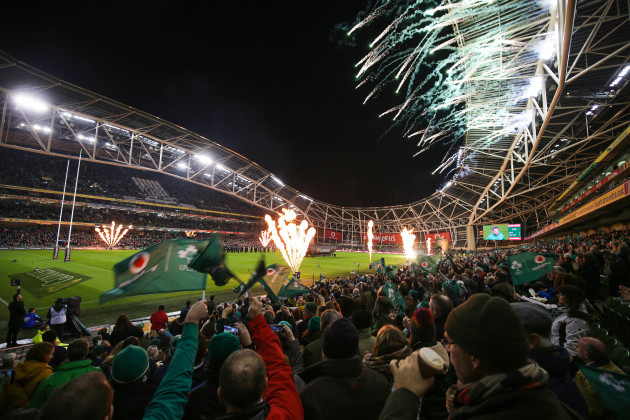 A general view of fireworks as the teams run out onto the pitch