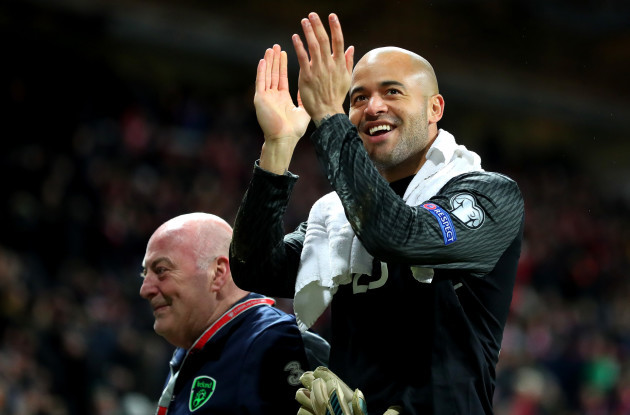Darren Randolph with kit man Dick Redmond