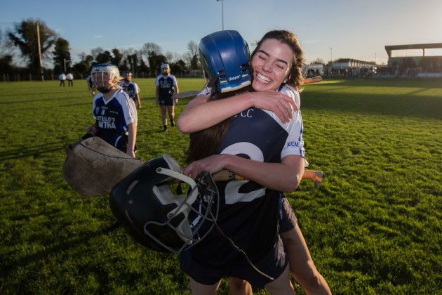 Nadine Doyle and Ailbhe Lynch celebrate after the game