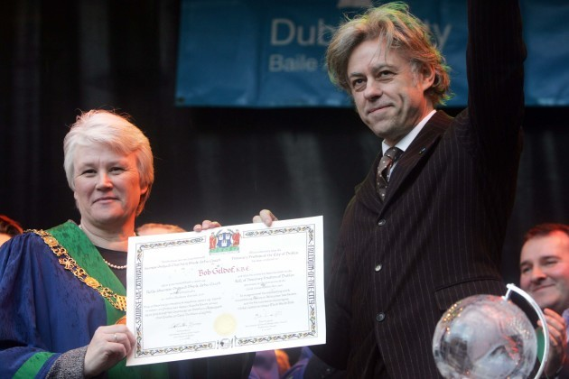 File Photo Bob Geldof is to hand back his Freedom of the City of Dublin, saying he does not want to be associated with the award while it is also held by Aung San Suu Kyi.