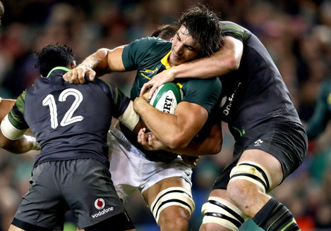 Bundee Aki, Eben Etzebeth and CJ Stander