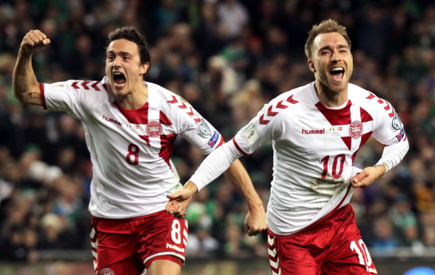 Christian Eriksen celebrates scoring their third goal with Thomas Delaney