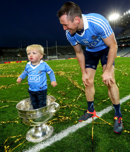 Denis Bastick sons Aidan in the Sam Maguire after the game