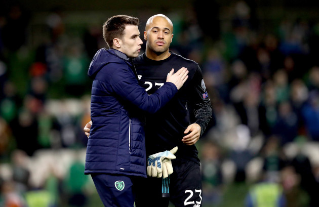 Seamus Coleman and Darren Randolph dejected after the match