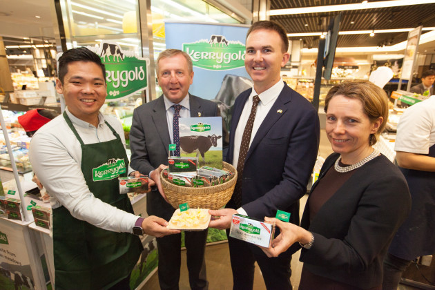 Pictured at the launch of Kerrygold in South Korea L-R Vincent Tong, Ornua, Minister Michael Creed, Sean Ryan, Ornua, Tara McCarthy, Bord Bia