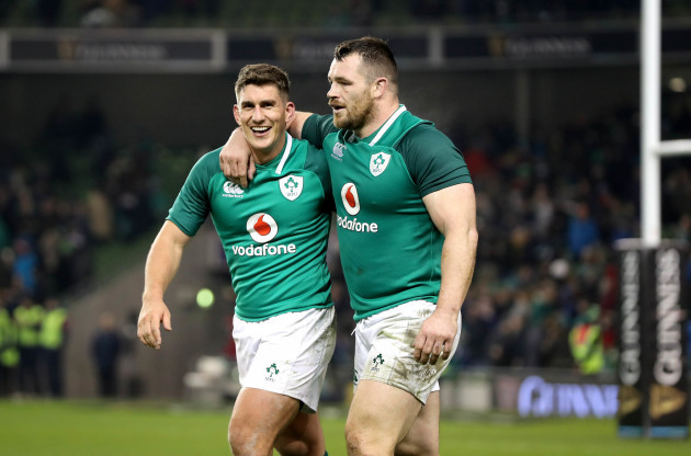 Ian Keatley with Cian Healy after the game