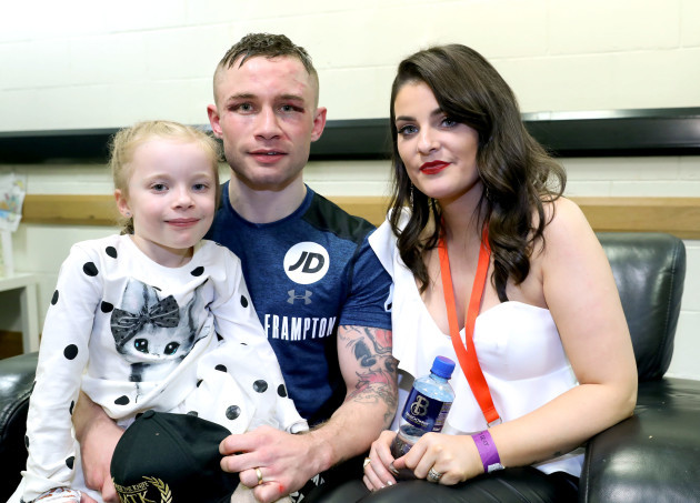Carl Frampton pictured with his wife Christine and daughter Carla after the fight