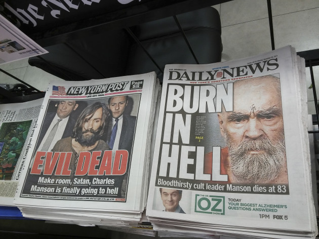 NY: New York newspapers report on death of Charles Manson