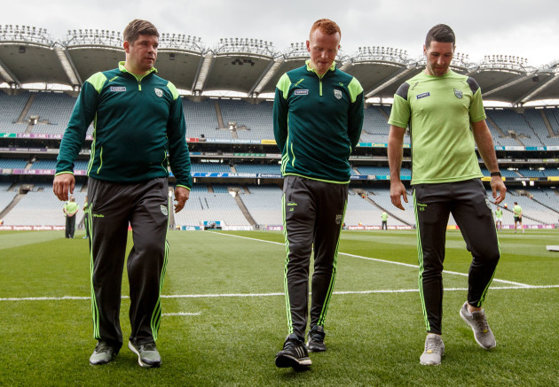 Eamonn Fitzmaurice, Johnny Buckley and Bryan Sheehan before the game