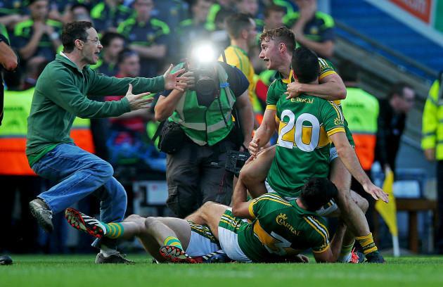 Kerry's James O'Donoghue, Bryan Sheehan and Aidan O'Mahony celebrate at the final whistle