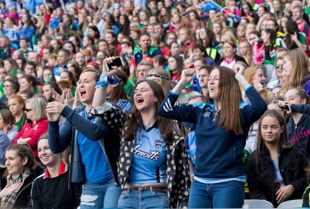 Dublin fans celebrate a goal