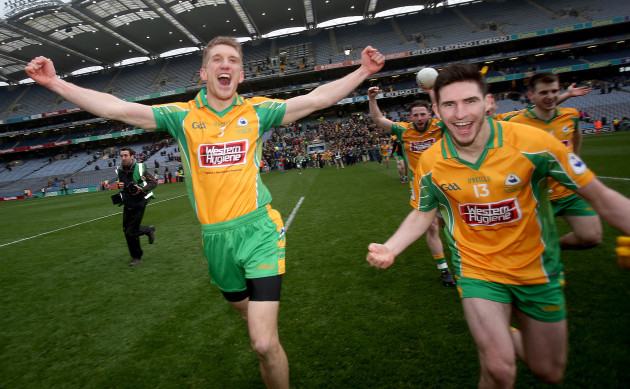 Kieran Fitzgerald and Martin Farragher celebrate at the end of the game