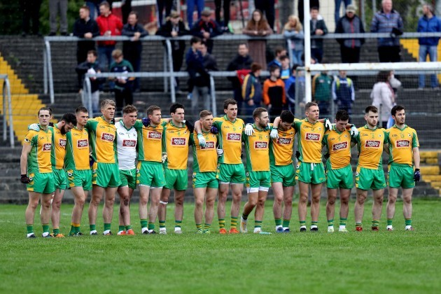 Corofin team during the national anthem
