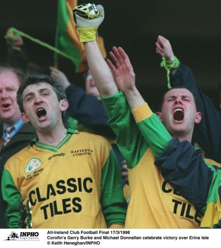 Corofin's Gerry Burke andMichael Donnellan celebrate 17/3/1998