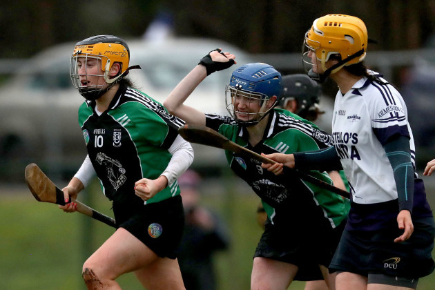 Aoife Behan celebrates scoring a goal  with and Olivia Dineen