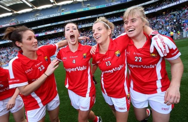 Grace Kearney, Aisling Barrett, Valerie Mulcahy and Emma Farmer celebrate