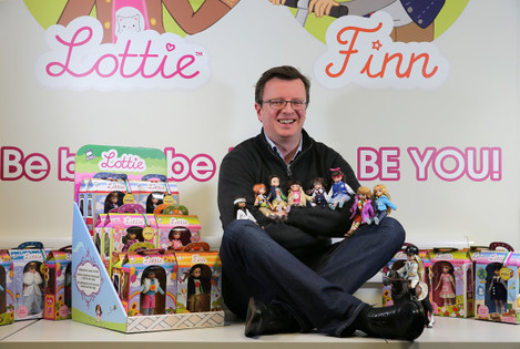 Ian Harkin with some of his range of Lottie and Finn dolls. Pic: Declan Doherty