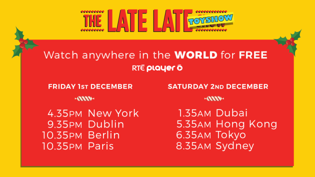 RTÉ Player - Ways to Watch The Late Late Toy Show FREE Worldwide
