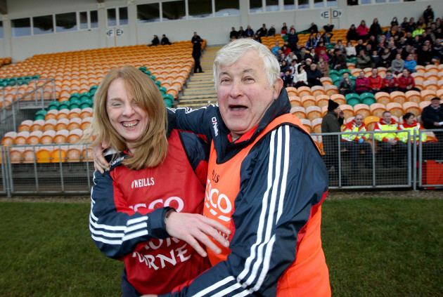 Beatrice Casey and Jimmy Corbett celebrate at the final whistle