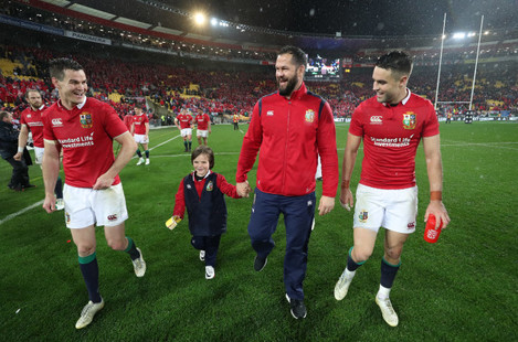 Andy Farrell celebrates winning with his son Gabriel, Jonathan Sexton and Conor Murray