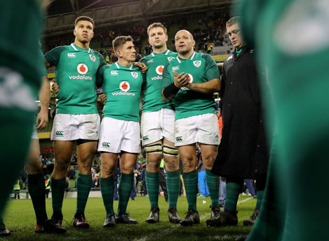 Rory Best speaks to his team mates after the game