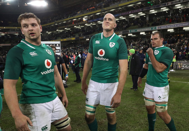 Iain Henderson, Devin Toner and Rhys Ruddock celebrate after the game