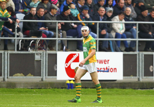 Conor Mahon leaves the pitch after being sent off