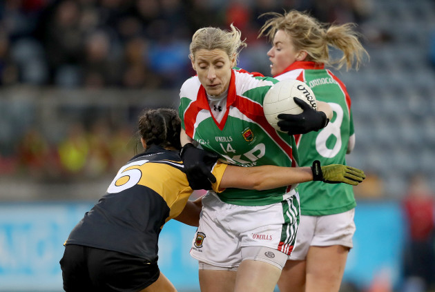 Cora Staunton is tackled by Eimear Meaney