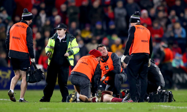 Liam O'Connor recieves attention before leaving the field injured