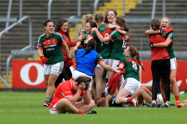 Mayo players celebrate at the end of the game