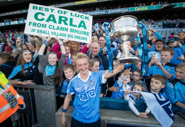Carla Rowe celebrates with The Brendan Martin Cup