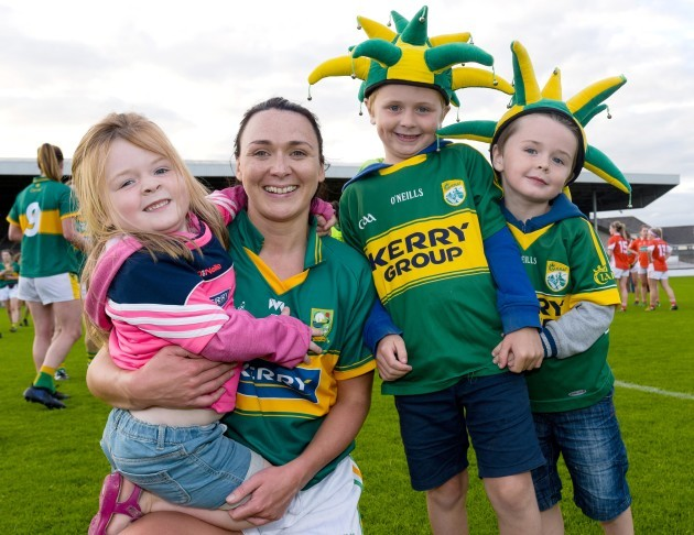 Caroline Kelly celebrates with young Kerry fans after the game