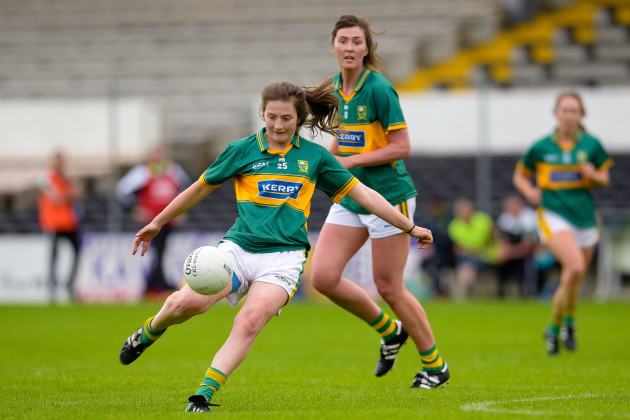 Kerry's Hannah O'Donoghue kicks a point