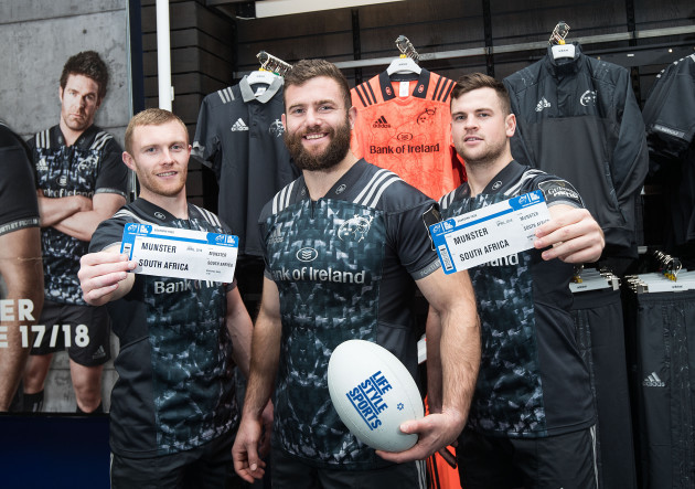 Keith Earls, Jaco Taute and Conor Oliver